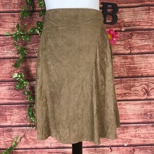 Max Studio Skirt Small Brown Stretch Faux Suede